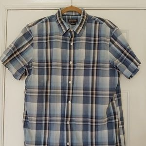 Micheal Kors Mens L Short Sleeve Plaid Shirt